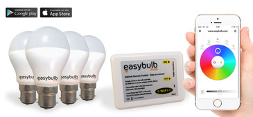 4 x Easybulb Plus Round RGBW 6W Light Bulb + Wifi Box Controller