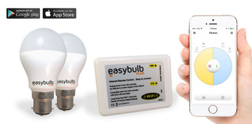 2 x Easybulb Plus Round Dual WHITE 6W Light Bulb + Wifi Box