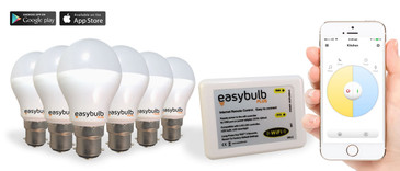 6 x Easybulb Plus Round Dual WHITE 6W Light Bulb + Wifi Box