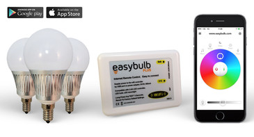 3 x Easybulb E14 RGBW 5W LED + Wifi Box Colour Changing Wireless Lamp