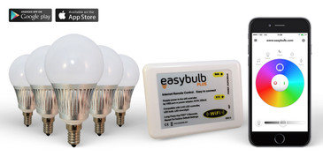5 x Easybulb E14 RGBW 5W LED + Wifi Box Colour Changing Wireless Lamp