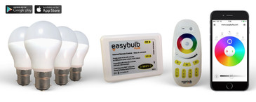 4 Easybulb RGBW 6W LED Light Bulb + Remote Control + Wifi Box