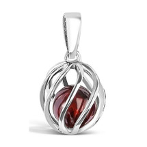 January Birthstone silver pendant - Garnet