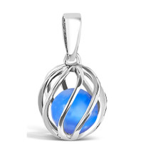 September Birthstone silver pendant - Blue Agate