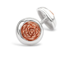 English Rose Silver Stud Earrings (Rose Gold)