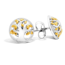 Family Tree Silver Stud Earrings (Yellow Gold)