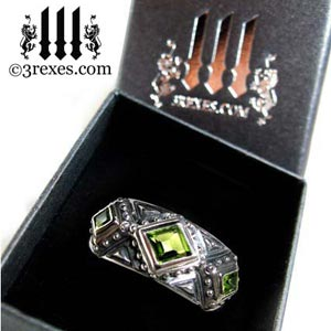 3-kings-wedding-ring-mens-silver-gothic-band-green-peridot-stone-3-rexes-jewelry-prestige-box