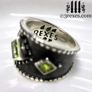 3-wishes-silver-medieval-wedding-ring-gothic-green-peridot-stones-wide-studded-engagement-band-dark-black-unisex-design-side