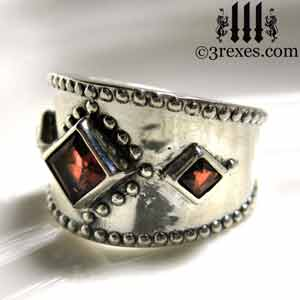 3-wishes-silver-ring-light-garnet-side-gothic medieval engagement ring