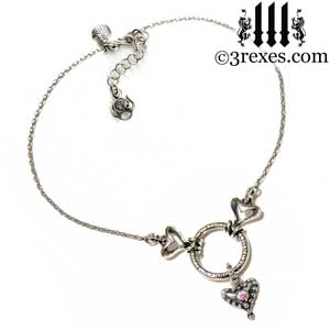 beloved-fairy-tale-silver-choker-heart-necklace-pink-cz-stone-full-view-with sterling box chain and custom 3 rexes hook and crown closure
