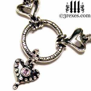 beloved-silver-gothic-fairy-tale-heart-necklace-pink-cz-detail