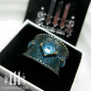 brass-3-wishes-ring-box-blue-topaz-stone-medieval-gothic-wedding-jewelry