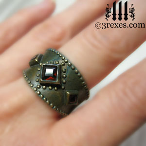 brass-3-wishes-ring-garnet-stone-medieval-gothic-engagement-band-wedding-jewelry-model