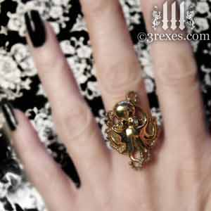 brass octopus dream ring blue topaz stone eyes gothic studded steampunk band model detail