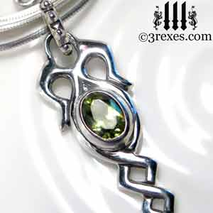 celtic-dripping-silver-necklace-green-peridot-stone-detail-august-birthstone-jewelry