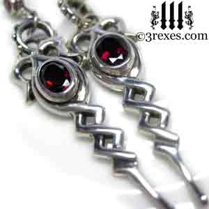 silver-celtic-drop-earrings-gothic-garnet