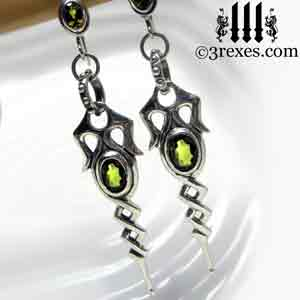 sterling silver dripping-celtic-earrings-green-peridot-stones