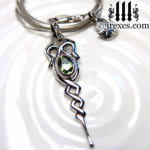 dripping-celtic-silver-necklace-green-peridot-stone-august-birthstone-jewelry-by-3-rexes-jewelry