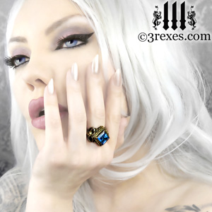 elena-brass-raven-love-ring-blue-topaz-by-3-rexes-jewelry-gothic-victorian-jewelry