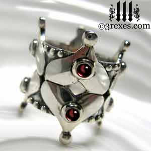 full-crown-silver-gothic-wedding-ring-gothic-garnet-cabochon-stones-sterling-silver-band-studs