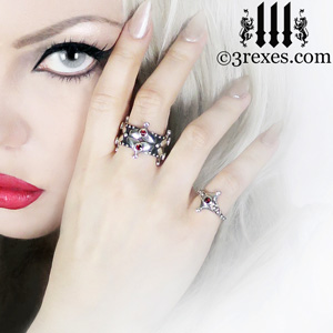 lovers-fairy-crown-ring-imp-ring-gothic-garnet-stone-3-rexes-jewelry