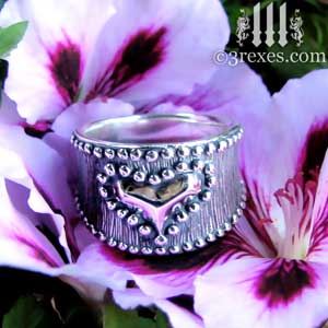 medieval-silver-studded-heart-ring-on-purple-flower-gothic-by-3-rexes-jewelry