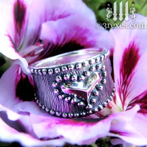 medieval-silver-studded-heart-ring-side-detail-on-flower-wide-engagement-band-by-3-rexes-jewelry