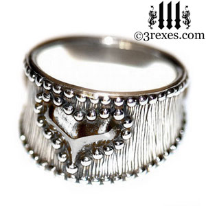 medieval-silver-studded-heart-ring-womans-gothic-wide-engagement-band-side-by-3-rexes-jewelry