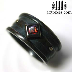mens-moorish-gothic-one-stone-ring-dark-black-antiqued-brass-red-garnet-stone-royal-engagement-band