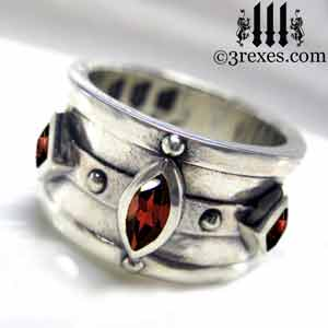 mens-moorish-medieval-silver-engagement-ring-gothic-garnet-wedding-band