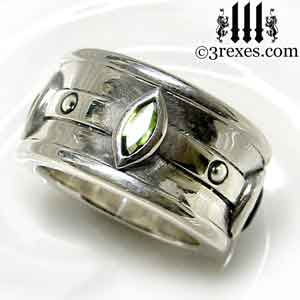 mens-silver-moorish-marquise-wedding-ring-green-peridot-stone-august-birthstone-3-rexes-jewelry