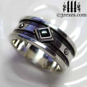 moorish gothic 1 stone wedding ring black onyx