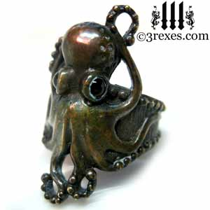 octopus dream ring dark brass black onyx stone eyes gothic steampunk studded band