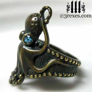 octopus ring dark brass blue topaz stone eyes side detail