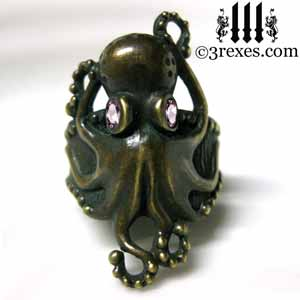 octopus ring dark brass patina with pink cz stone steampunk studded band