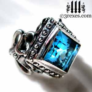 womens-raven-love-silver-ring-medieval-blue-topaz-stone-gothic-studs