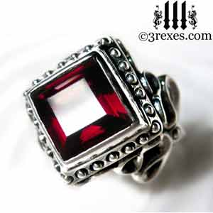 raven-love-silver-wedding-ring-gothic-garnet-stone-medieval-engagement-band-studded-january-birthstone-jewelry-cocktail-statement-band