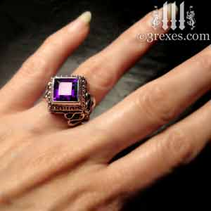 raven-love-silver-wedding-ring-gothic-purple-amethyst-stone-medieval-engagement-band-on model cocktail statement rings by 3 rexes jewelry
