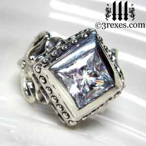 raven-love-silver-wedding-ring-womans-gothic-white-cz-stone-medieval-engagement-band-side-detail