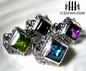 raven-love-silver-wedding-rings-gothic-stone-medieval-engagement-bands-by 3 rexes jewelry