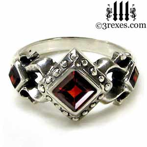 royal princess ring gothic red garnet stones .925 sterling silver medieval wedding band