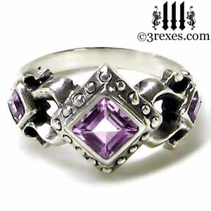 royal princess sterling silver ring purple amethyst stone gothic wedding engagement band
