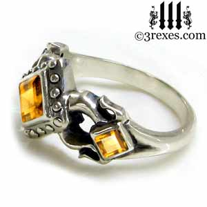 royal princess 925 sterling silver engagement ring yellow citrine stone gothic wedding ring side detail