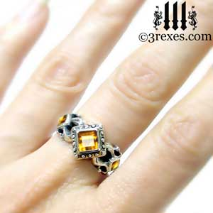 the royal princess wedding ring model citrine stone gothic medieval engagement band