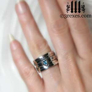silver moorish marquise wedding ring blue topaz stone - Marquis Wedding Ring