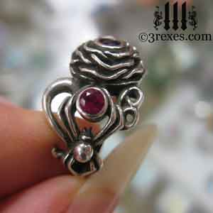silver rose ring, moon ring, spider ring, moon side faceted red ruby stones July birthstone by 3 rexes jewelry