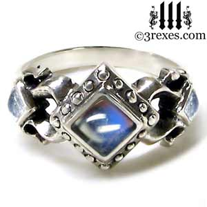 925 silver royal princess ring magic moonstone gothic engagement band medieval wedding band