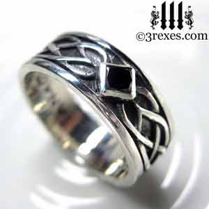 3 Rexes Mens Ring Gallery Medieval Silver Skulls and Celtic