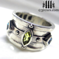 .925 sterling silver medieval ring with gothic green peridot