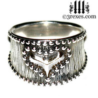 medieval studded heart ring .925 sterling silver